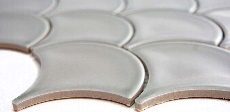 FAN Mosaik Fliese Keramik grau Fächer steingrau glänzend Bad 13-FS02/_f 10Matten