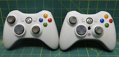 Lot of 2 Authentic Microsoft Xbox 360 Wireless Controllers -White, used for sale  Shipping to India