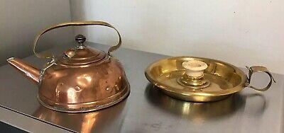 2  VICTORIAN 1886 HENRY LOVERIDGE ITEMS 1/2 PINT COPPER KETTLE BRASS CANDLESTICK