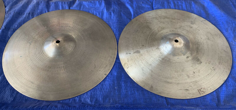 "Vintage Zildjian Avedis New Beat 15"" Hi Hats 1570 grams & 1145 grams"