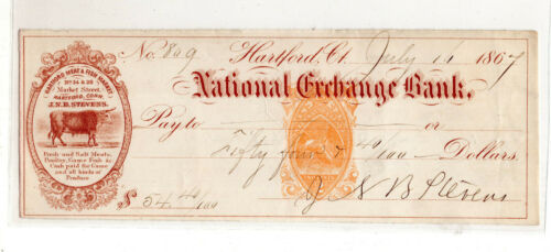 US revenue stamped paper bank check SC#RN-B1 Connecticut Meat fish market #S902