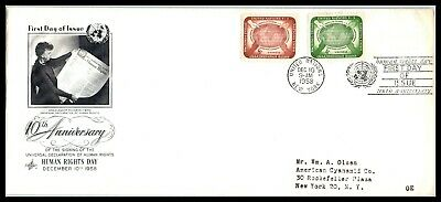 1958 UNITED NATIONS FDC Cover - 10th Anniversary, Human Rights Day, New York S6