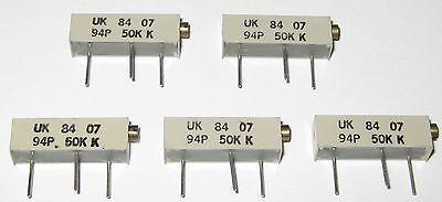 5 X Allen Bradley Potentiometer - 50 Kohm - 20 Turn - 94p - Multiturn 50k Pots