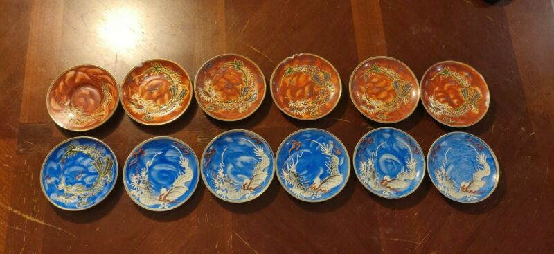 VINTAGE  Saucer sets  Blue and Brown DRAGON WARE Hand Painted/Occupied Japan