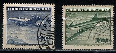 Chile 1955-56 two aereo stamps used