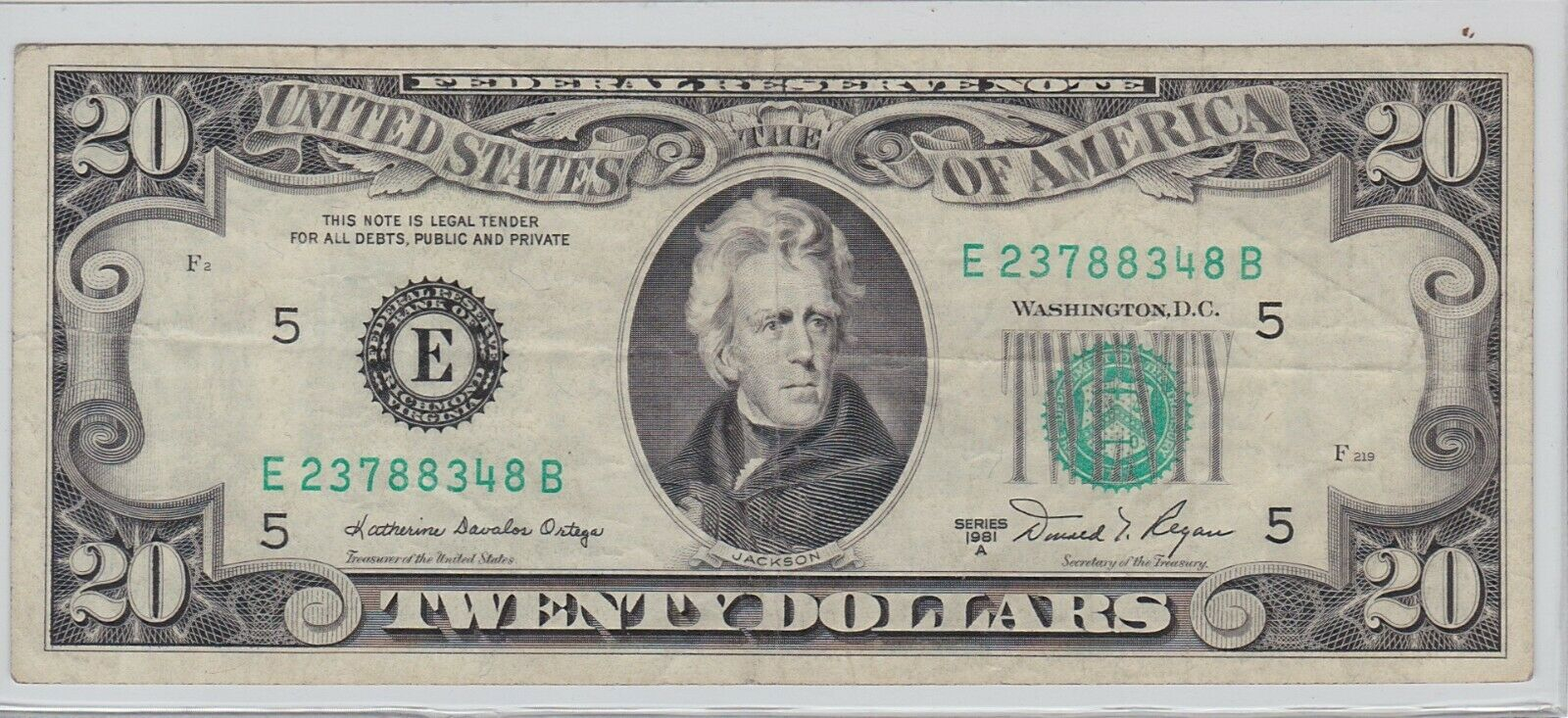$20 Bill Series 1981 A Richmond (E) Serial # E23788348B
