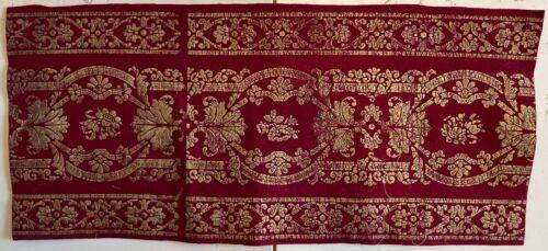 Beautiful Early 20th Century French Wool Embossed Metallic Border (2806)
