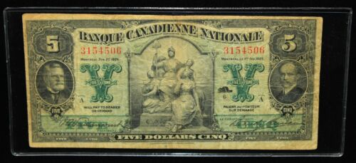 NICE 1925 BANQUE CANADIENNE NATIONALE 5 DOLLARS