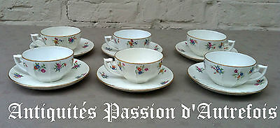 B20151933 - 6 tasses et sous tasses en porcelaine Massé et Surget - Berry France