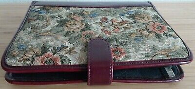 Vintage 3 Ring Alpha Personal Organizer Binder Floral Tapestryburgundy Leather