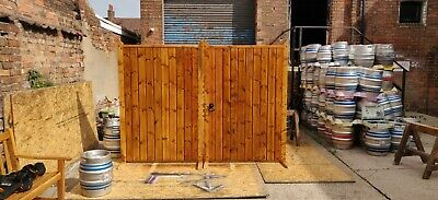 Heavy Wooden Treated Oak Stained Oiled Driveway Gates Strap Hinge Latch Included