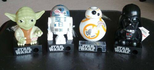 Star Wars Candy Dispensers: Yoda, R2-D2, Darth Vader, BB-8. NWT.