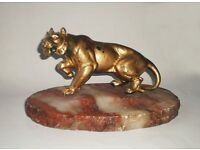 Antique cold pained bronze Tiger figure on marble onyx base, ca. 1920