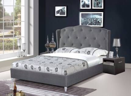 Brand New EURO DESIGN Grey Fabric Queen Bed (EH1102)