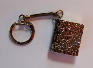 VINTAGE METAL KEY CHAIN FOB MINI BOOK BOOKLET PILL BOX LOCKET KEYCHAIN