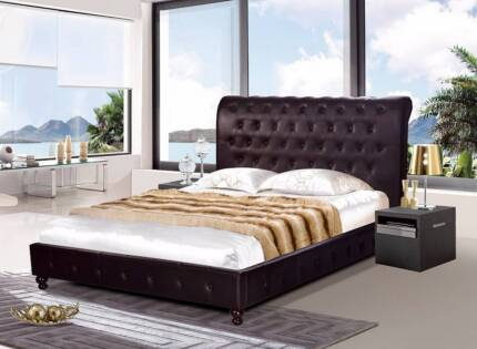 Brand New Brown PU Leather Queen/King size Bed (CG1065)