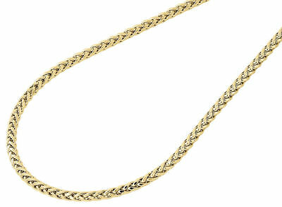 Mens Ladies 10K Yellow Gold 2.5MM Rounded Palm Wheat Chain Necklace 18-40 Inches