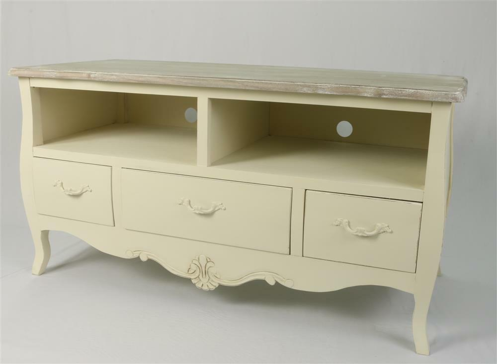 shabby chic tv stand table cabinet dvd widescreen lcd cream loire french new ebay. Black Bedroom Furniture Sets. Home Design Ideas