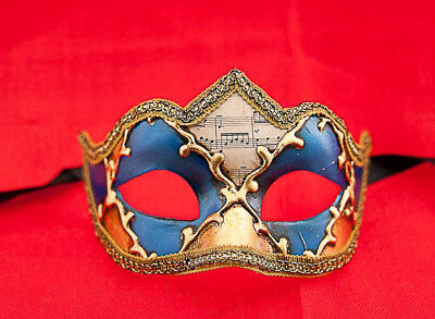 Mask from Venice Colombine a Tip Musica Blue and Golden for Fancy Dress 691
