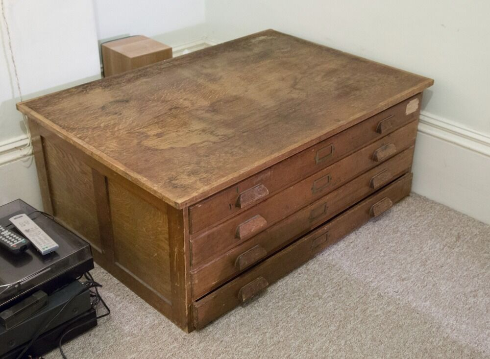 Antique 4 Drawer Coffee Table / Map Drawer / Filing Chest