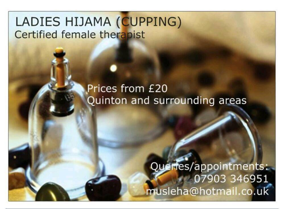 Hijama/Wet Cupping FemaleMale therapists NOW includes 6 cupsin West MidlandsGumtree - Mobile Hijama Cupping service In Birmingham & surrounding areasHygiene conscious certified male and female therapists. All equipment is sterile and single use. Mobile service from the comfort of your own home £30 consultation and treatment, which...