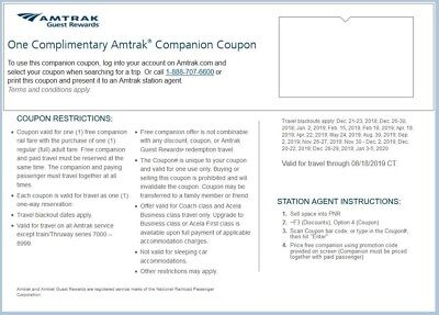 Amtrak Companion Coupon can be used on 2 separate one-way bookings until 8/18/19