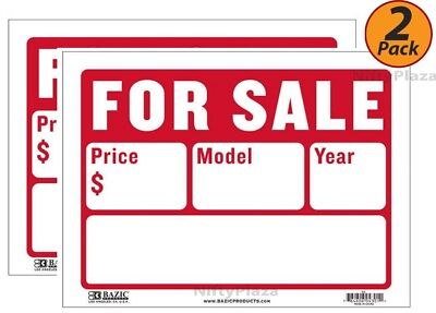 2 Pack - Bazic 9 X 12 For Sale Sign 2-line High Impact Superior Visibility