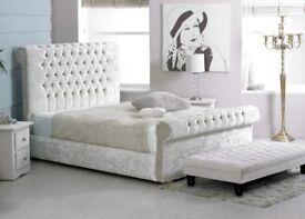 4FT6 Crushed Velvet Sleigh Bed, Only £250