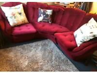 Vintage red velour 3 seater sofa
