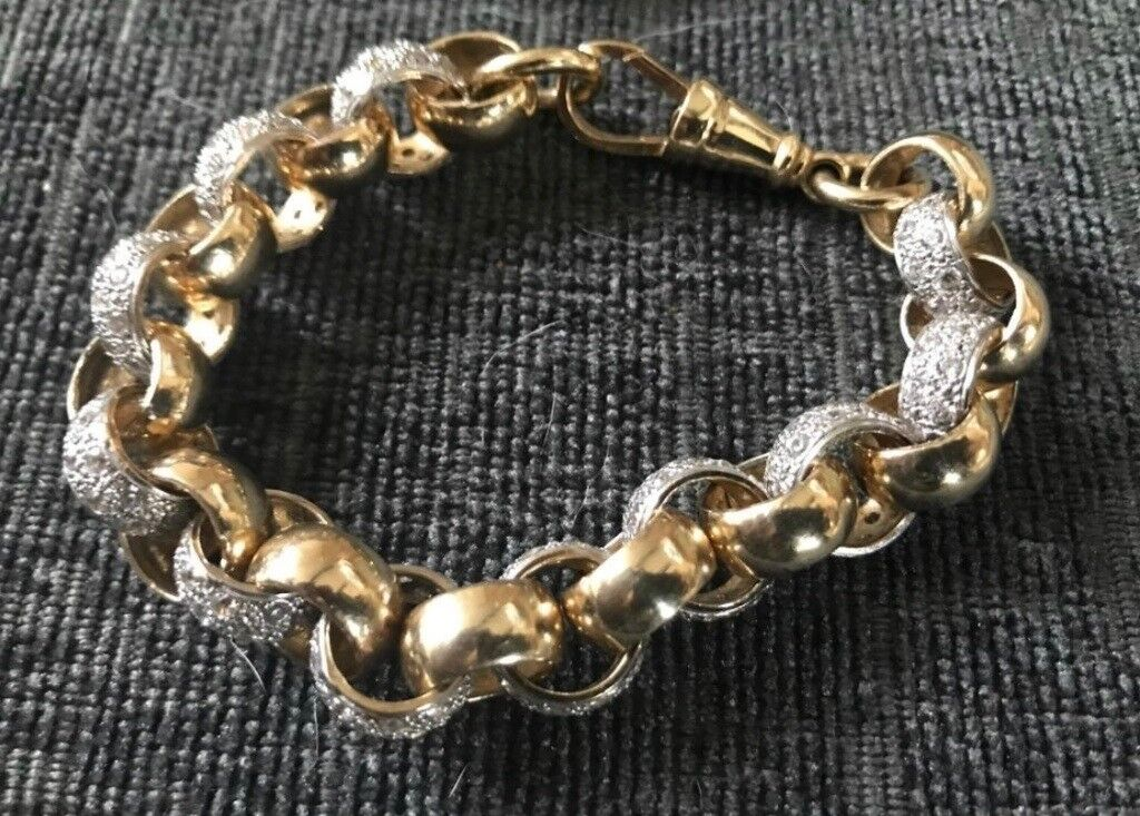 Very Large And Heavy 9ct Gold Cz Belcher Bracelet 9 64 Grams Cost Over