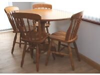 Solid Ash Wood Dining Table & 4 Chairs