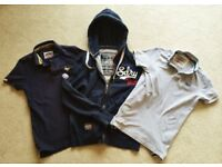 GREAT SUPERDRY KIDS POLO SHIRT BUNDLE SUPER DRY HOODY HOODIE TOP SWEAT JERSEY ADULT SMALL JOB LOT