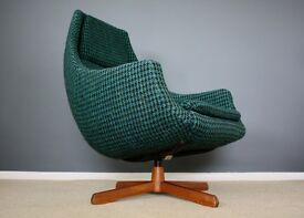 Mid Century Swedish Space Age Egg Chair Retro Dogtooth Vintage 60s