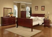 BRAND NEW 8 PCS SOLID WOOD QUEEN BEDROOM (3 COLOURS)