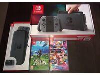 Nintendo Switch (Grey) with Zelda, Mario Kart 8 and Carry Case