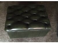 Lovely antique green chesterfield leather footstool