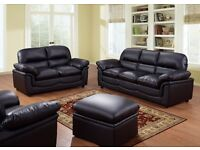 Leather Sofa Set 3+2 Brand New with 1 year Warranty ONLY £399.99 FREE DELIVERY Black, Brown & Cream