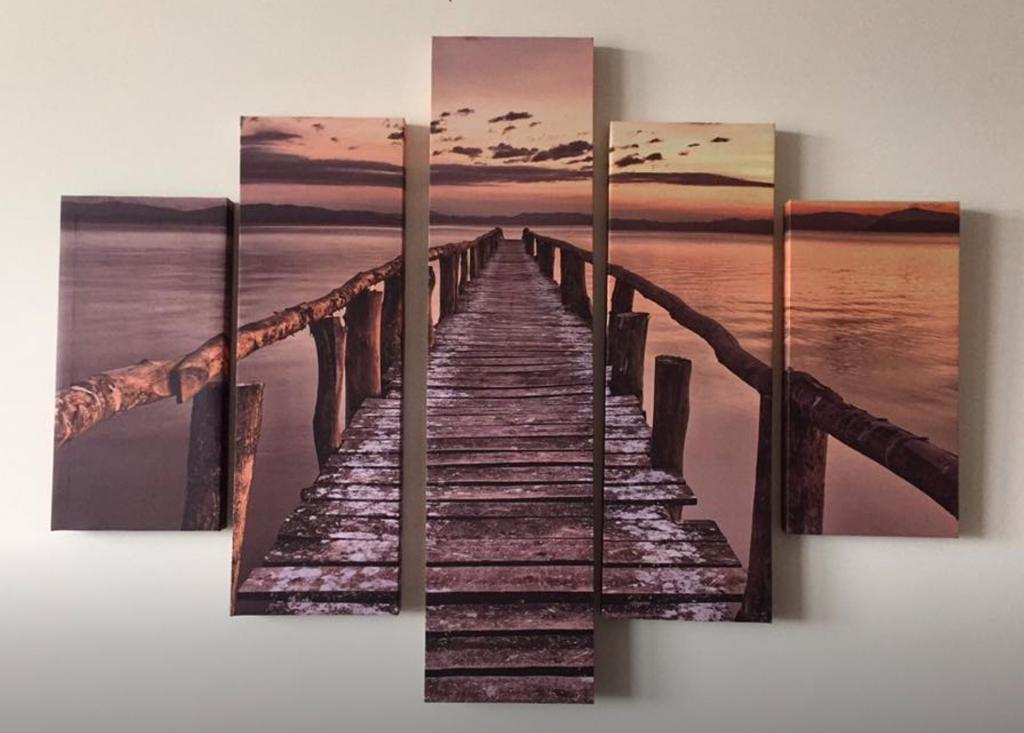 Ocean Sunset Dock Canvas Picture