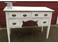 Vintage knee hole dressing table painted Rustoleum 'Chalk White' with distressed wax finish