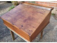 Antique Victorian Pitch Pine Clerks Desk/ Writing Slope