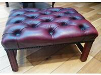 Chesterfield Queen Anne Footstool (Leather in Oxblood)