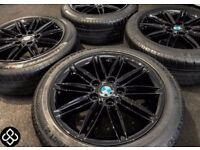 "NEW GENUINE BMW 17"" ALLOY WHEELS & TYRES - 5 X 120 - 205 50 17 - CRYSTAL BLACK - Wheel Smart"