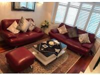 RUBIN Designer Italian Leather sofa set - 3 seater, 2 seater and Footstool