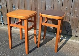 Pair of vintage 1960's retro breakfast / kitchen stools in teak with padded seat
