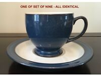 """Denby """"Boston"""" tea cups & saucers - set of 9 - rare style (similar to Imperial Blue)"""