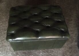 Antique green chesterfield leather pouffe footstool with storage.
