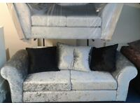 Brand new 3 plus 2 seater silver crushed velvet fabric sofas