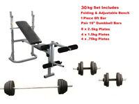 Weight Training Bench Set Press & Curl Bar + Dumbbells & Weights: Brand New