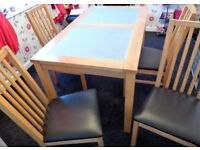 Dining Table 4 Seater Set (Solid Wood, With Tempered Glass)