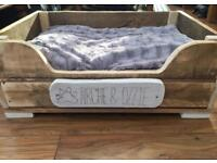 Handmade personalised wooden dog bed